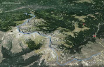 Trasa przez Parang (Google Earth)